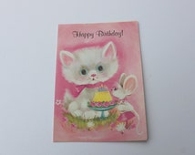 Vintage Cat Lover Pink Birthday Card, Unused Blue Eyed White Kitten and Mouse Card, 1970s 70s Cat Lover Happy Birthday Card