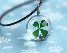Real Four Leaf Clover Necklace, Lucky Charm, Lucky Pendant, 4 Leaf Clover Jewelry, Four Leaf Clover pendant