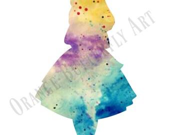 alice in wonderland watercolour print wall art digital download printable