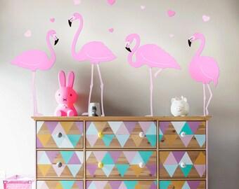 Flamingo Wall Decal, Flamingos Set Wall Decal, Girls Wall Decal, Nursery Wall Decals, Flamingo Wall Stickers, Nursery Decals, Flamingo Art