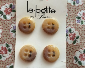 "Vintage 4 New Variegated Tan Round Buttons 5/8"" Plastic by la petite"