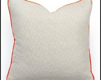 Grey matelassé textured pillow cover, 22x22 pillow, one of a kind cushion