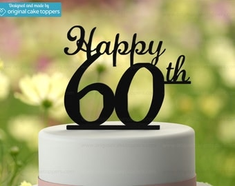 "60th Birthday Cake Topper - ""Happy 60th"" - BLACK - OriginalCakeToppers"