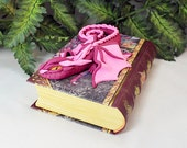 Polymer Clay Pink Dragon on a Book - Dragon Sculpture - Pink Dragon Sculpture - Pink Dragon - Dragon Book - Pink Dragon Storage - 1-055