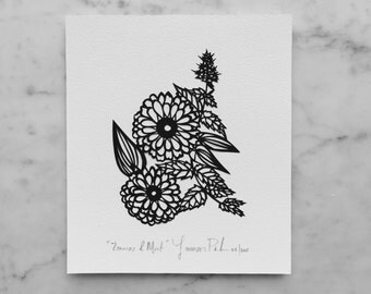 "Original Papercut Art ""Zinnias & Mint"""