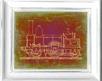 Train,#Locomotive,#SteamTrain,#Railroad,#Engineer,#Art,#Railway,#Traintrack,#Conductor,#Kaboose,#Red,#green,#HomeDecor,#ManCave,#Toy,#Design