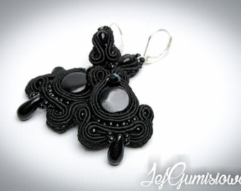 Black soutache. Black earrings. Hand-embroidered soutache earrings. Soutache earrings. Braid earrings.