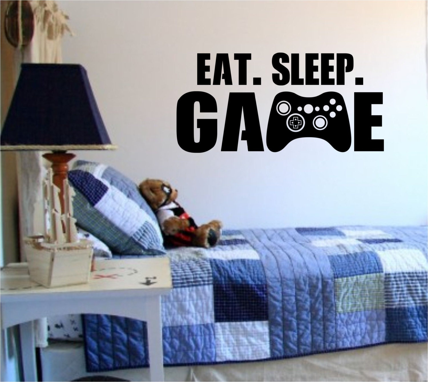 Eat sleep game version 101 gamer video game decal sticker wall for Sleeping room decoration