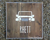 Rustic Custom Name Sign, Rustic Nursery Sign, Boys Bedroom Decor, Reclaimed Wood Name Sign, Car Jeep Truck Sign, Rustic Home Decor