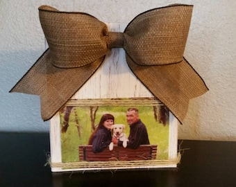 Wooden Rustic Country Photo Block Frame