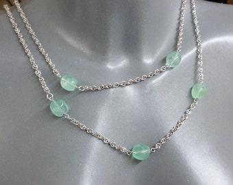 Necklace silver chain 925 fluorite stone green SK816