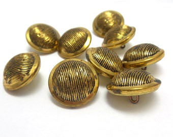 9 Vintage Gold Buttons