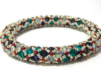 Tutorial for Netted Bracelet Bangle made with Crystals and Seed beads Instant Download PDF Beading Pattern