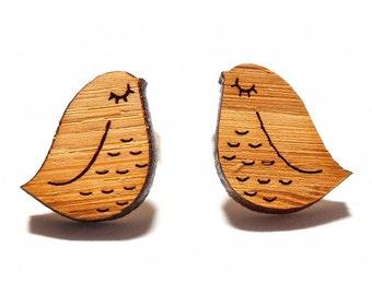 Sleepy Bird Bamboo Stud Earrings, Bird Stud Earrings, Bird Studs, Bird Earrings, Etched Bamboo Earrings, Wooden Earrings, Post Earrings