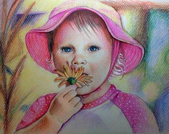 8x12 Custom portraits,  baby Portrait, gift, illustration, artist, pencil portrait, drawing, art, artwork, custom portrait