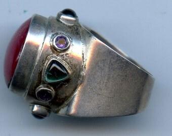 Vintage-Signed-Darla Nordstrom-Sterling-Silver-Ladies-Gem Stone-Large-Fashion-Ring-Size 8