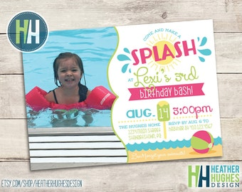 girl summer splash birthday invite, boy or girl birthday, first birthday, beach theme printable invitation customize personalize