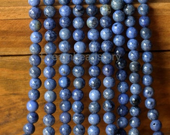 Natural Black spot blue Stone Beads, Round 6 8mm Semi Precious Stone Loose Beads for Necklace Bracelet Making