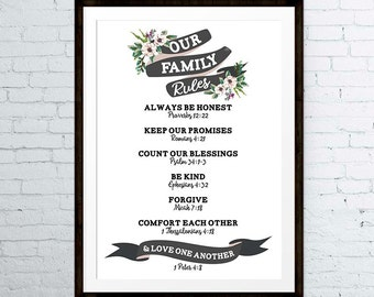 Christian Family Rules - Family Rules Wall Art, Family Rules Print, Family Rules Poster, Bible Verse Wall Art - INSTANT DOWNLOAD