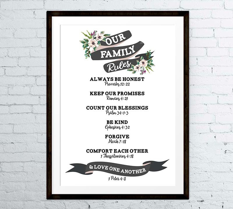 Family Rules Wall Art christian family rules family rules wall art family rules