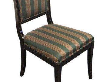KINDEL FURNITURE Grand Rapids Black & Gold Regency Sleigh Back Side Chair 75-072