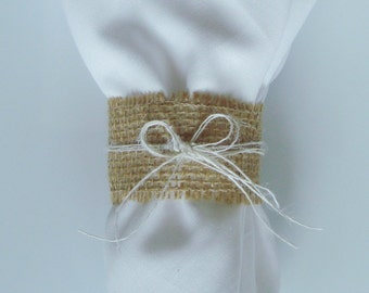 Burlap Napkin Rings / Silverware Holders – Color: Brown with Cream Burlap Bow