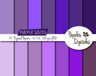"Purple Solids Digital Paper Pack - Digital Papers / Printable Backgrounds - 14 Shades / Sheets Instant Download 12""x12"" JPG 300 dpi"