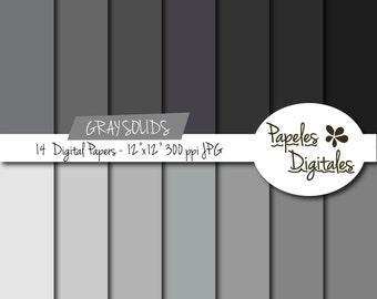 "Gray Solids Digital Paper Pack - Digital Papers / Printable Backgrounds - 14 Shades / Sheets Instant Download 12""x12"" JPG 300 dpi"