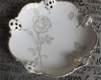 Vintage (1960s | 1970s) Rosenthal Moliere 3432 Classic Rose bon bon | nut dish. Pierced lattice, gold embossed details, golden rose & leaves