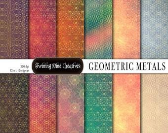 Geometric Digital Paper, Scrapbook, Polygon Paper, Sacred Geometry, Metallic Paper, Commercial Use, Boho, Popular, Rainbow, Colorful, Yoga