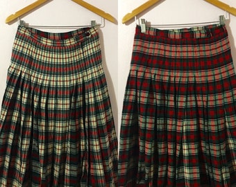 Vintage 1950's Small Pendleton Turnabout Reversible Wool Pleated Plaid Schoolgirl Skirt