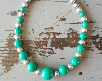 Katie- Teal and Silver Chunky Necklace