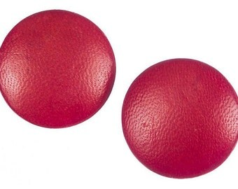 Charles Jourdan Red Leather Earrings