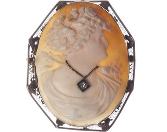 Edwardian 14 kt White Gold Filigree Diamond Shell Cameo Pendant/Brooch