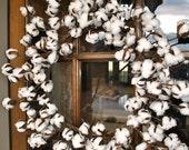 Cotton wreath~cotton boll wreath~rustic cotton~farmhouse wreath~cotton wreaths~wedding wreath~cotton decor~wreath~rustic decor
