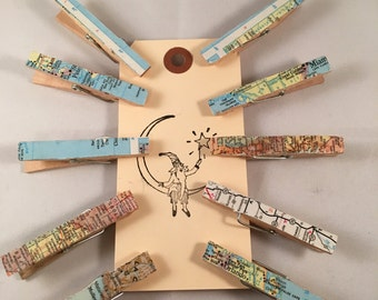 Set of 10 Up-Cycled Map Clothes Pins
