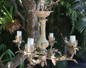 Vintage Shabby Chic Tole Chandelier
