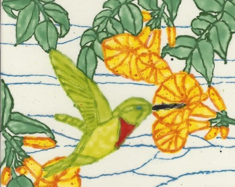 Hummingbird Closeup  Hand Painted Kiln Fired Decorative Ceramic Wall Art Tile 6 x 6