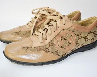 Vintage de Gucci zapatillas zapatillas deportivas zapatos Sz monograma UK 6.5 / los E.E.U.U. 9 damas / UE 39,5 Jpn 25 ajuste del cuero de tela Beige