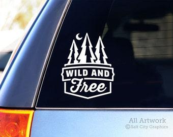 Wild and Free - Vinyl Sticker, Vinyl Decal - Adventure Spirit - Pine Trees Wilderness - Car Window Decal, Laptop Sticker, Bumper Sticker