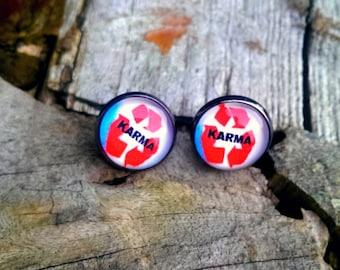 Karma earrings,Karma studs, Hipster earrings,gift for her