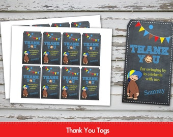 Curious George Thank you Tags Curious George Favor Tags Curious George Treat Bags Tags Curious George favor bag tags with name