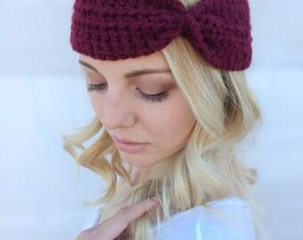 Crochet Turban Headband / Thick Headband / Turban Headband / Cinched Headband / More Colors