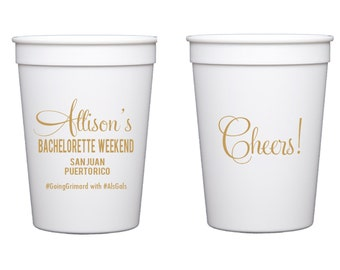 Bachelorette Weekend Personalized Stadium Plastic Cups - Wedding Favor - Bachelorette Party - Bridal Shower - Last Fling