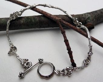 Sterling Silver Twig Bracelet,Twig Jewelry,Branch Bracelt,Gardener Gift,Nature lover,Woodland Bracelet,Gift for her,Minimalist Jewelry