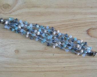 Blue Crystal Crochet Bracelet