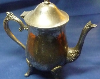 Silver Plate Floral Teapot