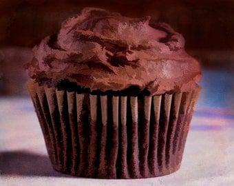 Chocolate Cupcake, Giclee, Print, Photograph, frosting, digital painting, wall art, kitchen art, baking