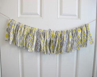 Shabby Chic Yellow and Gray Fabric Banner