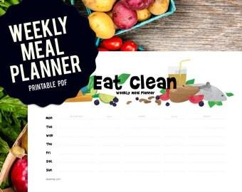 Week Meal Planner, printable chart, food chart